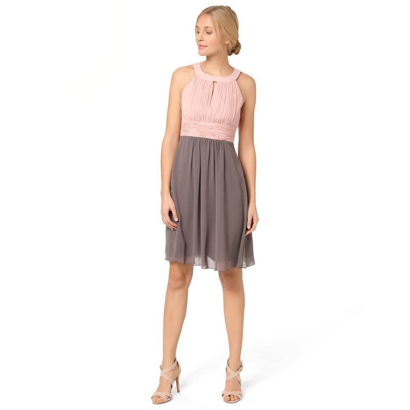 Kleid mit plissiertem Top in mauve