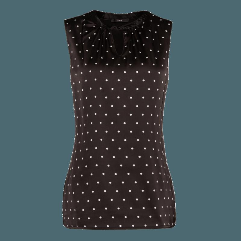 Top Amelie mit gepunkteter Front in black