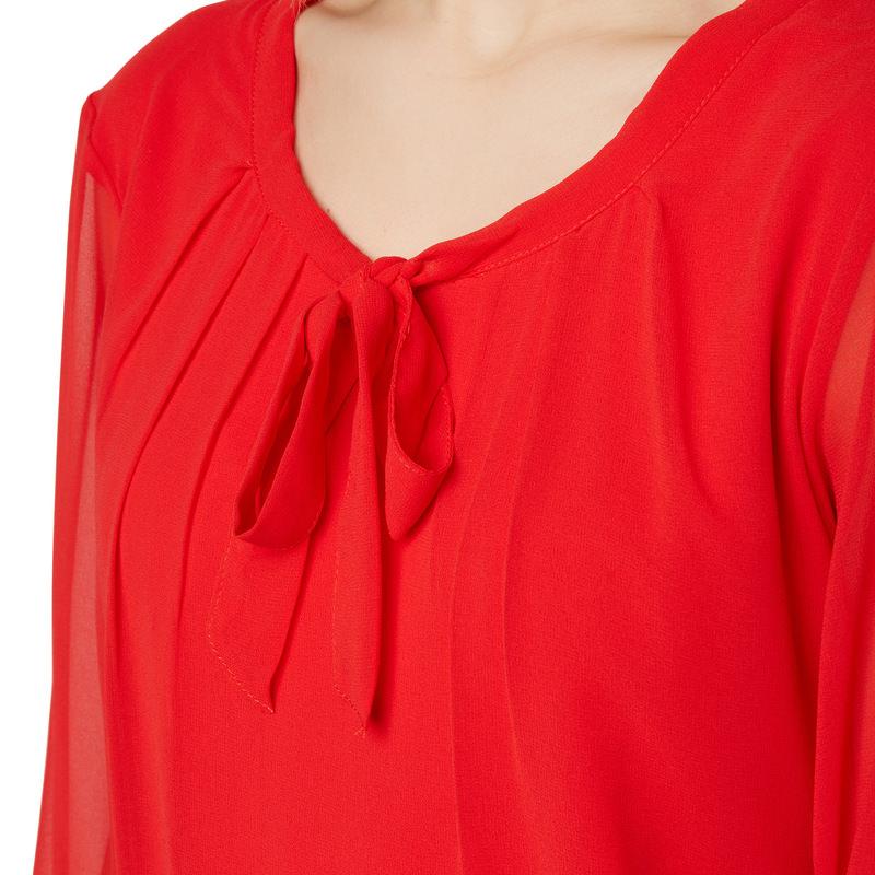 Bluse Celeste mit Schluppenkragen in red