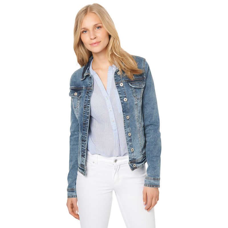 Jeansjacke mit Used-Look in mid blue washed down
