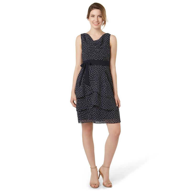 Kleid mit Volants-Saum in blue black