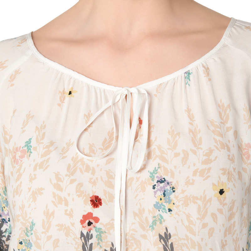 Bluse mit floralem Border-Print in offwhite