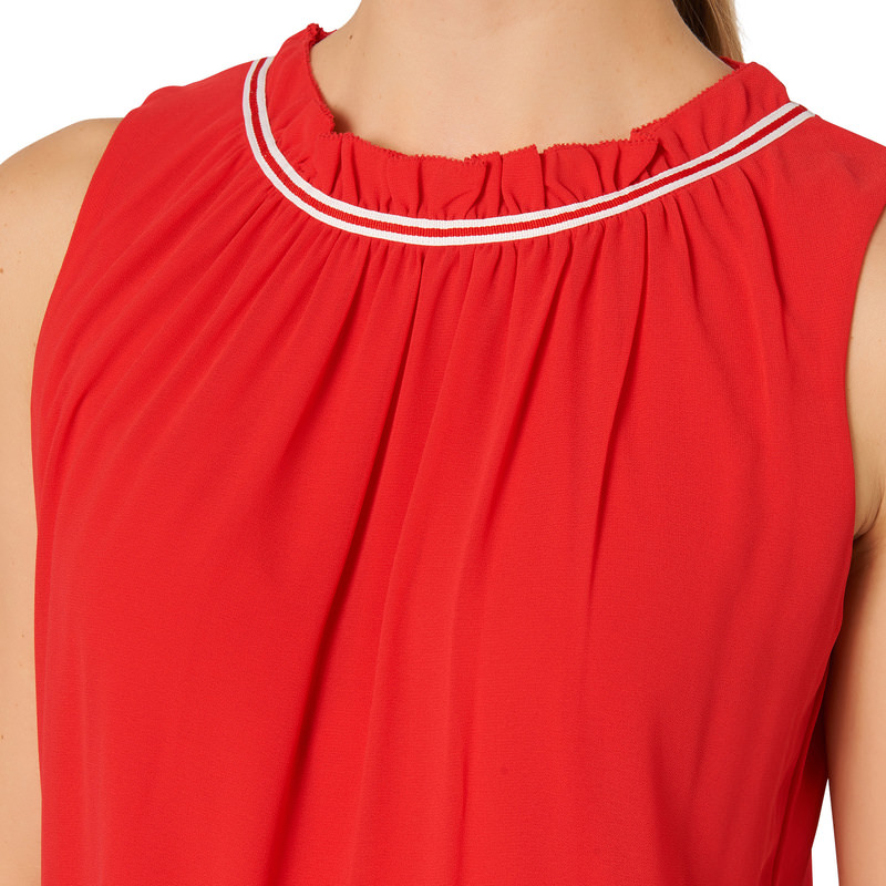 Bluse mit Volants in red