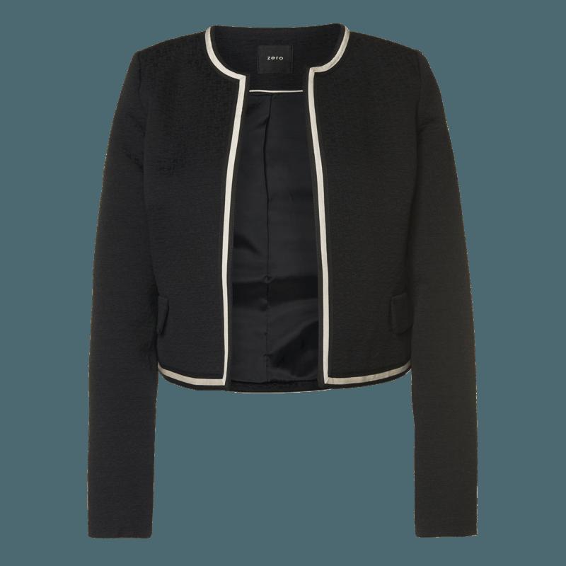 Offener Blazer mit Kontrast-Details in black
