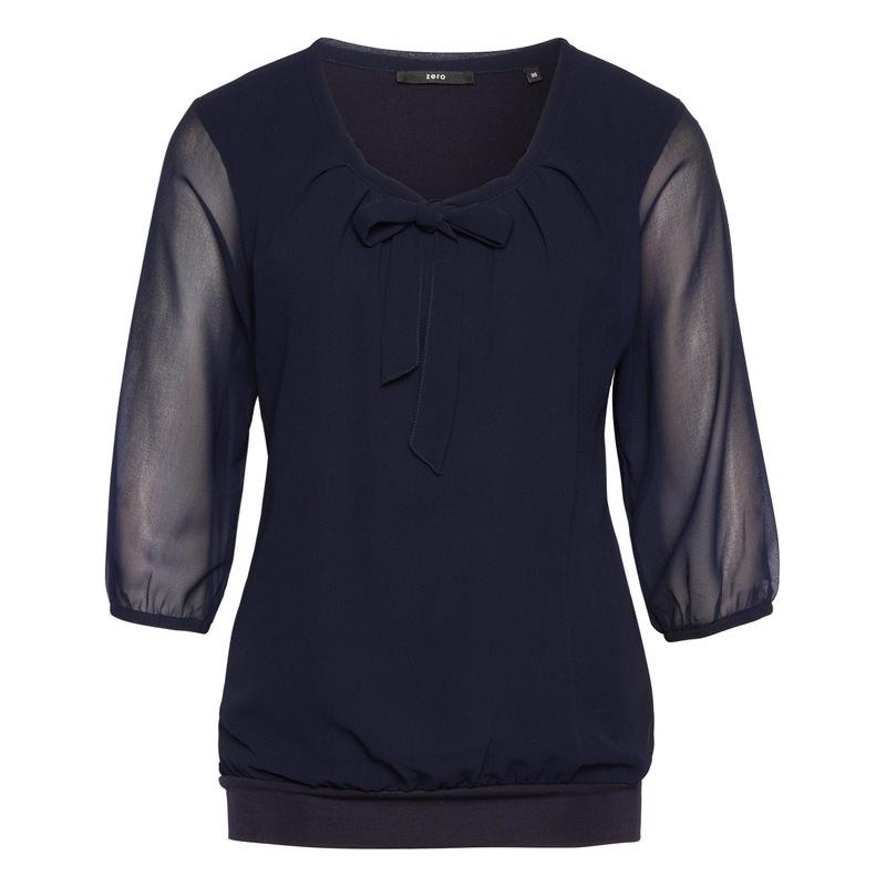 Bluse Celeste mit Schluppenkragen in blue black