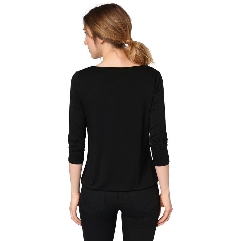 Shirt mit zartem Chiffon in black