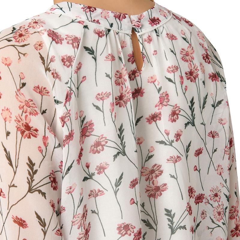 Chiffon-Bluse mit blumigem Print in offwhite
