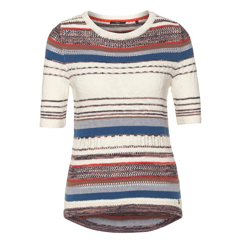 Kurzarm-Pullover im Ethno-Design in blue shadow