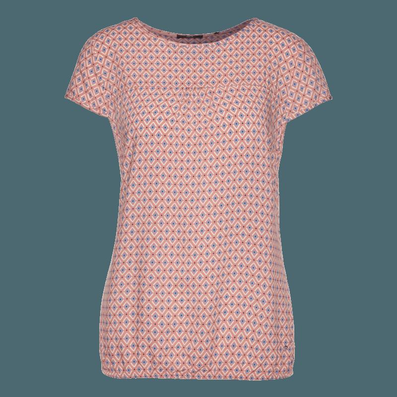 Kurzarm-Bluse im Allover-Design in salmon rose