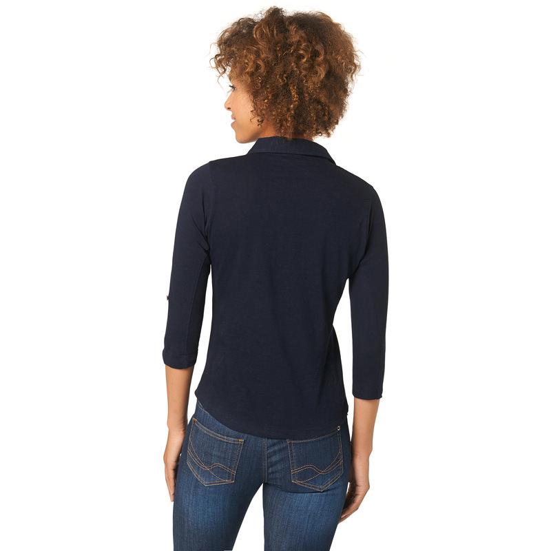 Jersey-Shirt mit Knopfleiste in blue black