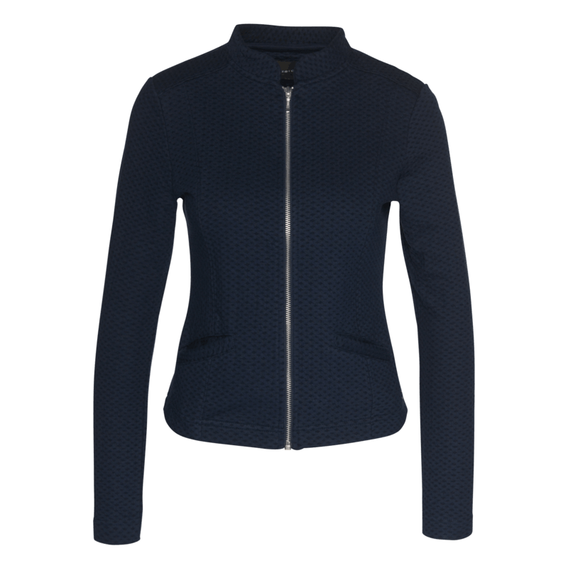 Sweatjacke mit filigraner Struktur in blueprint