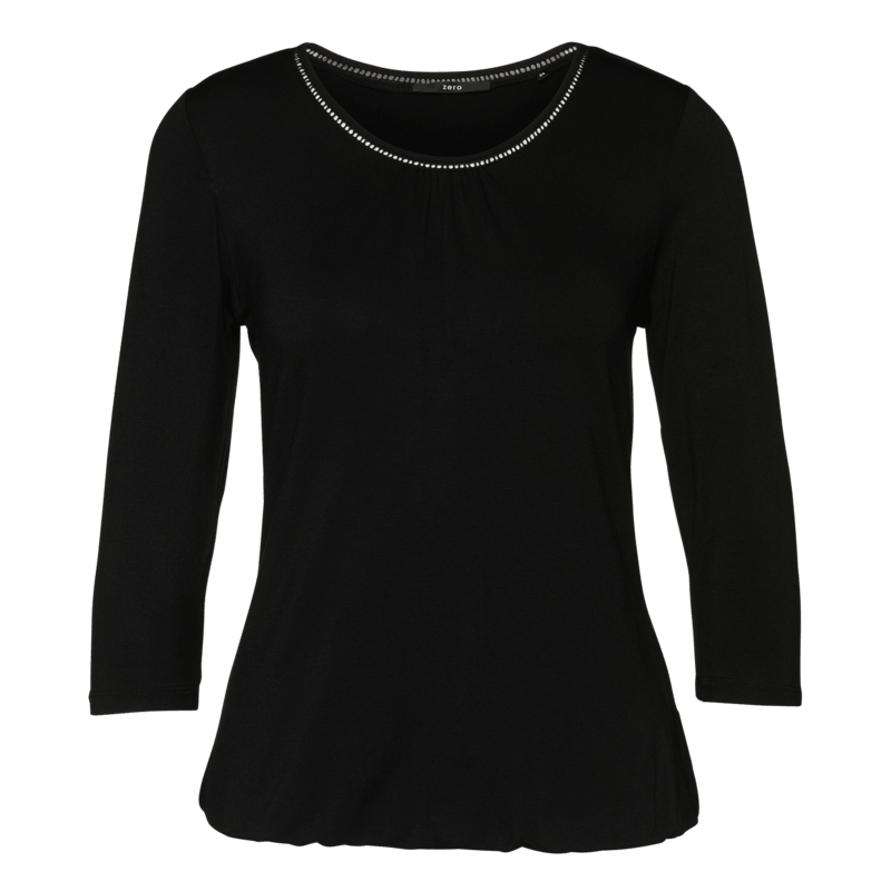 Viskose-Shirt mit Lochstickerei in black