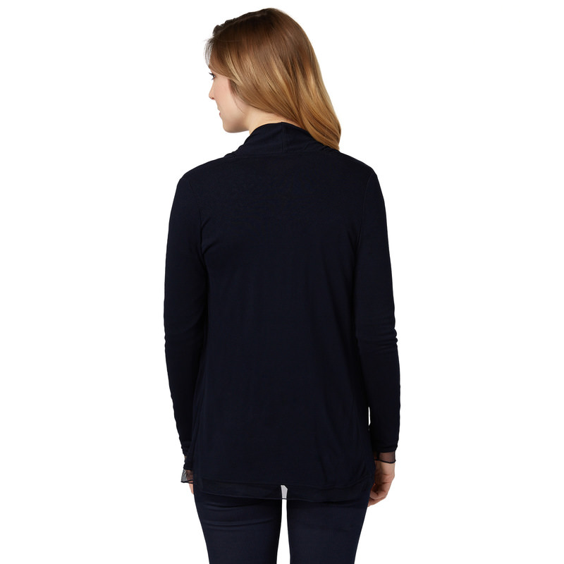 Jersey-Cardigan in offener Tragweise in blue black