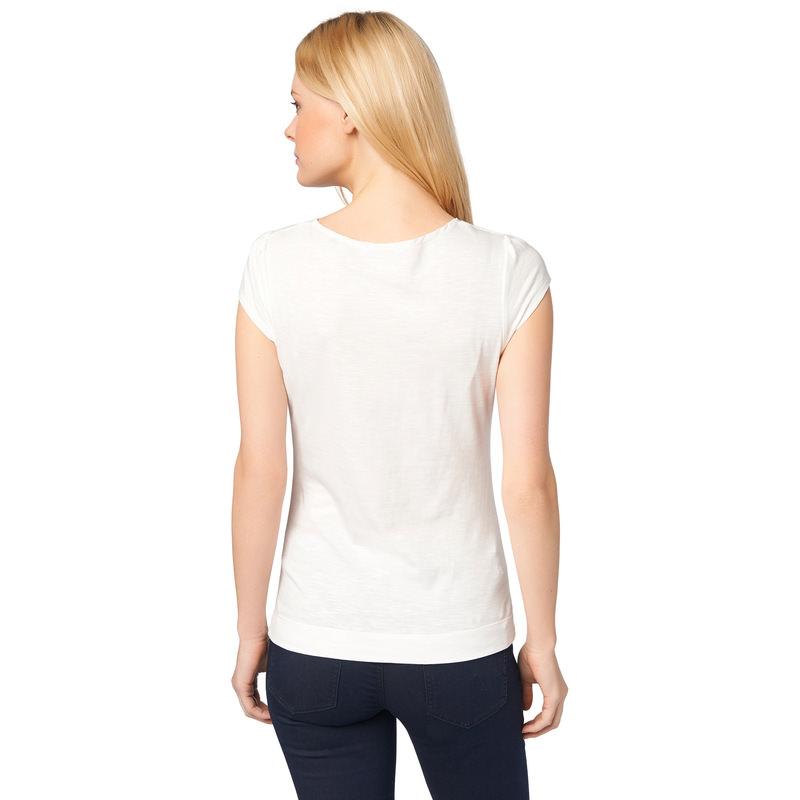 T-Shirt mit gerafftem Ausschnitt in offwhite