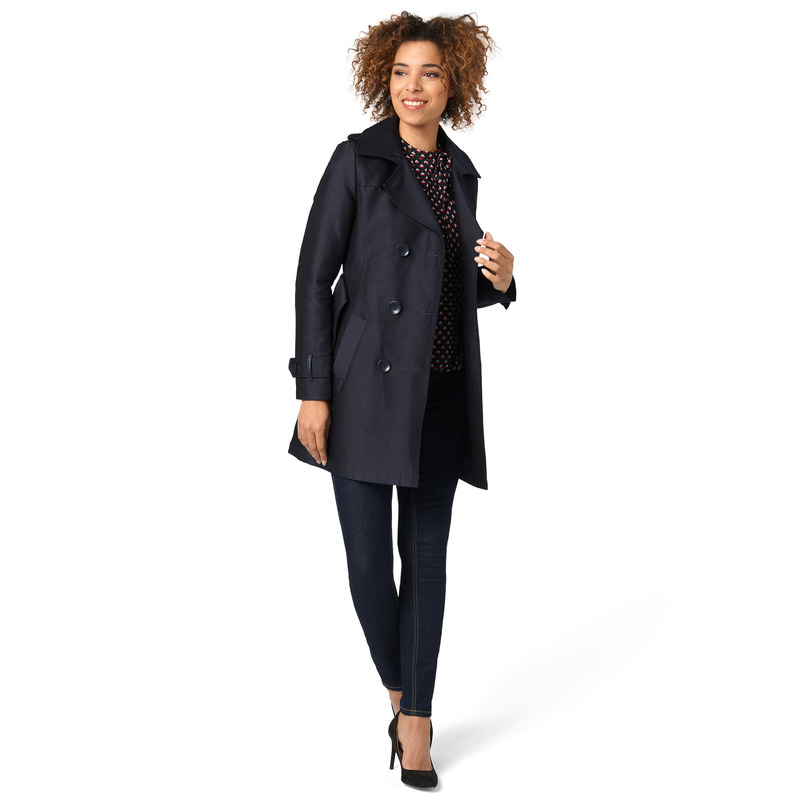 Trenchcoat mit Leder-Optik-Details in blue black