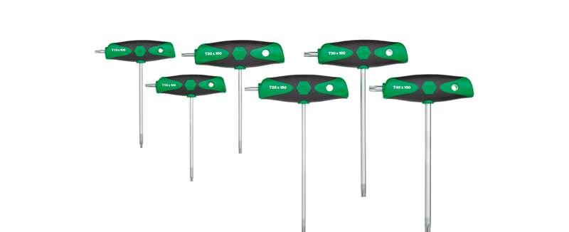 Wiha Stiftschlüssel mit Quergriff Set ComfortGrip TORX® 6-tlg. mit Seitenabtrieb, mattverchromt