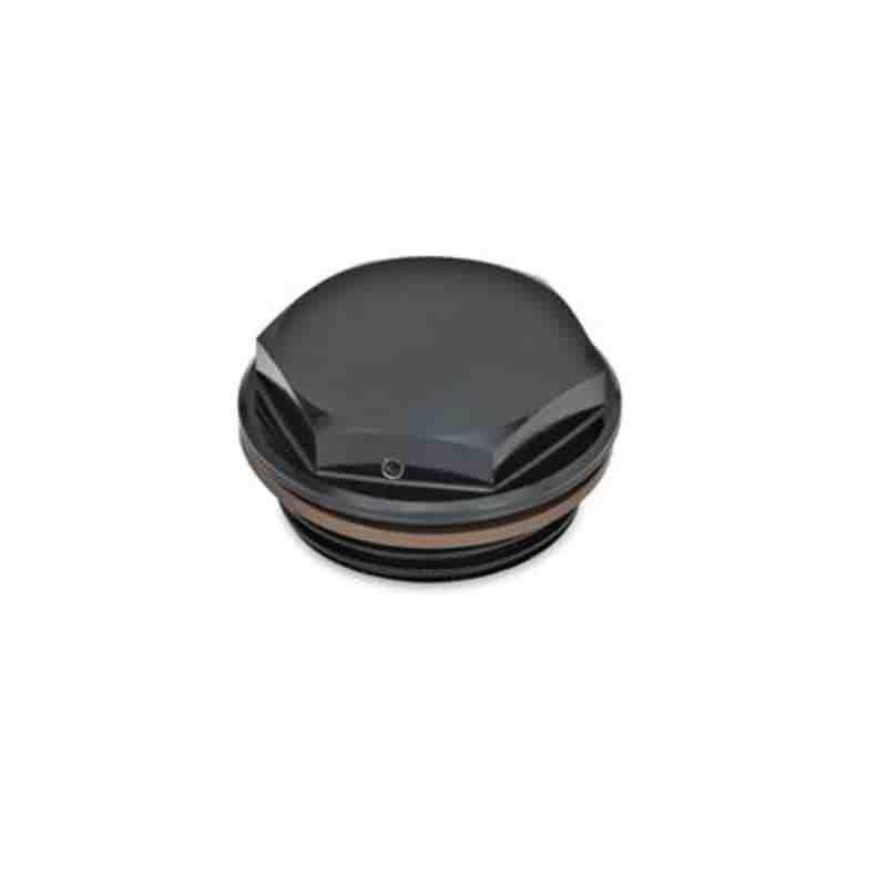 Verschlussschrauben mit und ohne Symbol, Viton-Dichtung, Aluminium, beständig bis 180 °C, schwarz eloxiert