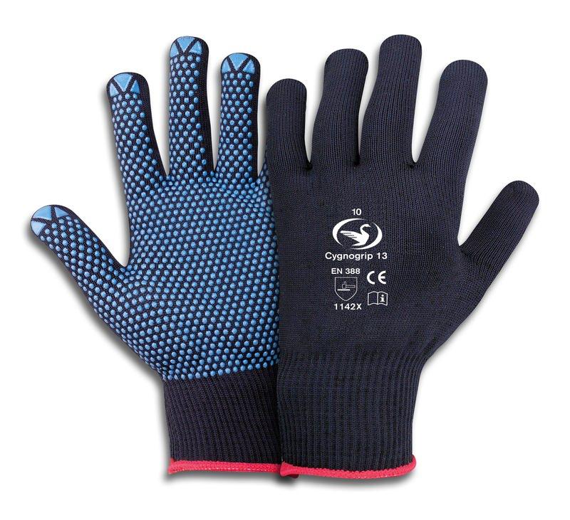 Feinstrick-Handschuhe mit PVC Noppen Cygnogrip 13