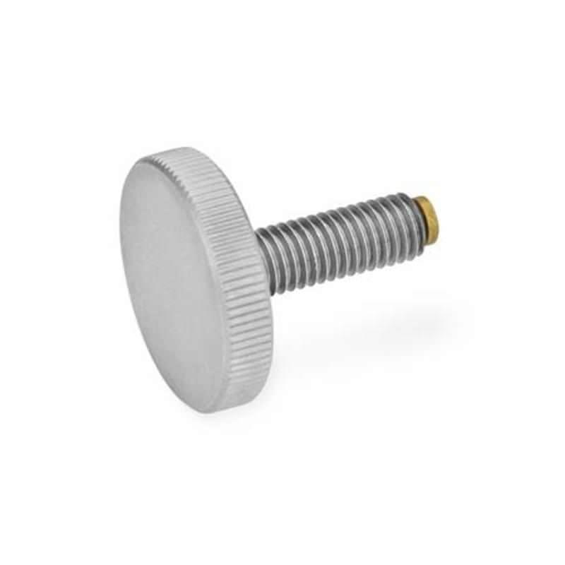 Edelstahl-Rändelschrauben mit MS- / KU-Druckzapfen
