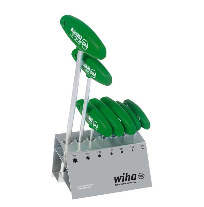 Wiha Stiftschlüssel mit Quergriff Set TORX® 7-tlg. mattverchromt im Werkbankständer