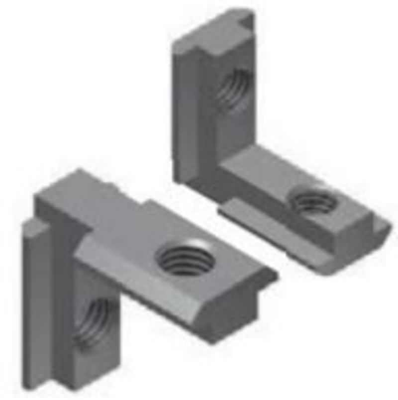 Eckverbinder innen M6 für Profil 8, wechselseitig, Zinkdruckguß, vernickelt