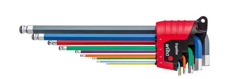 Wiha Stiftschlüssel Set im ErgoStar Halter Sechskant-Kugelkopf MagicRing® 9-tlg. farbig leuchtend