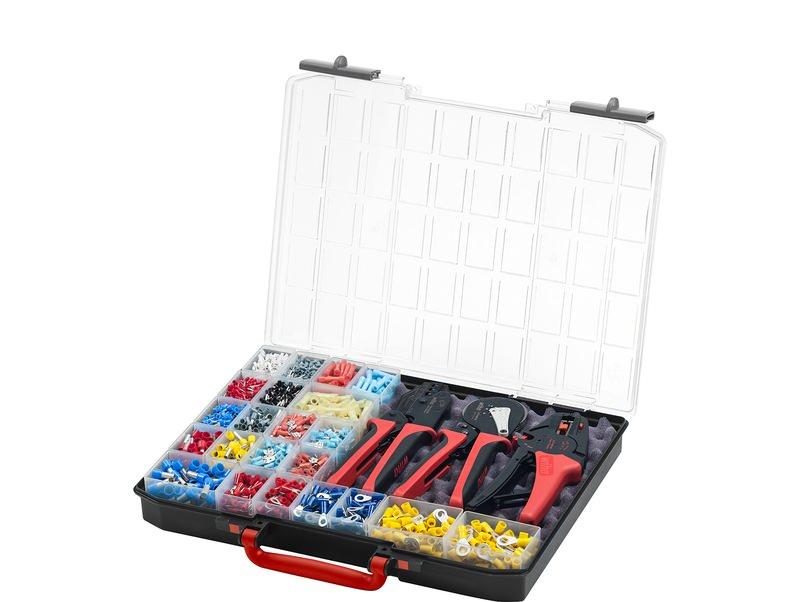 Wiha Abisolier- und Crimpwerkzeug Set 4-tlg. mit Verbindungselementen 2.600 St. Farbcode DIN in Sortimentsbox