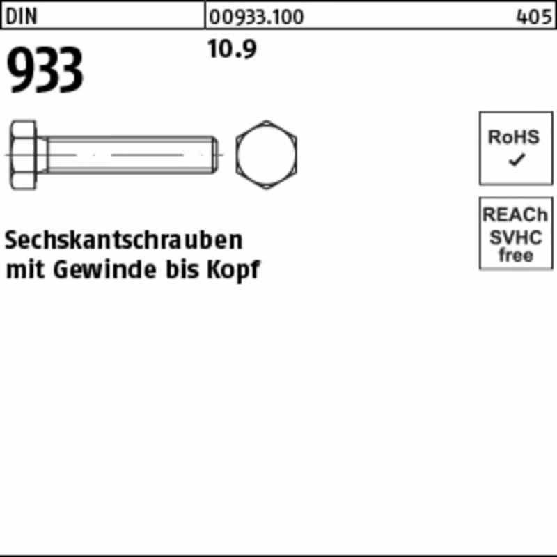 Sechskantschrauben mit Gewinde bis Kopf (100 St.)