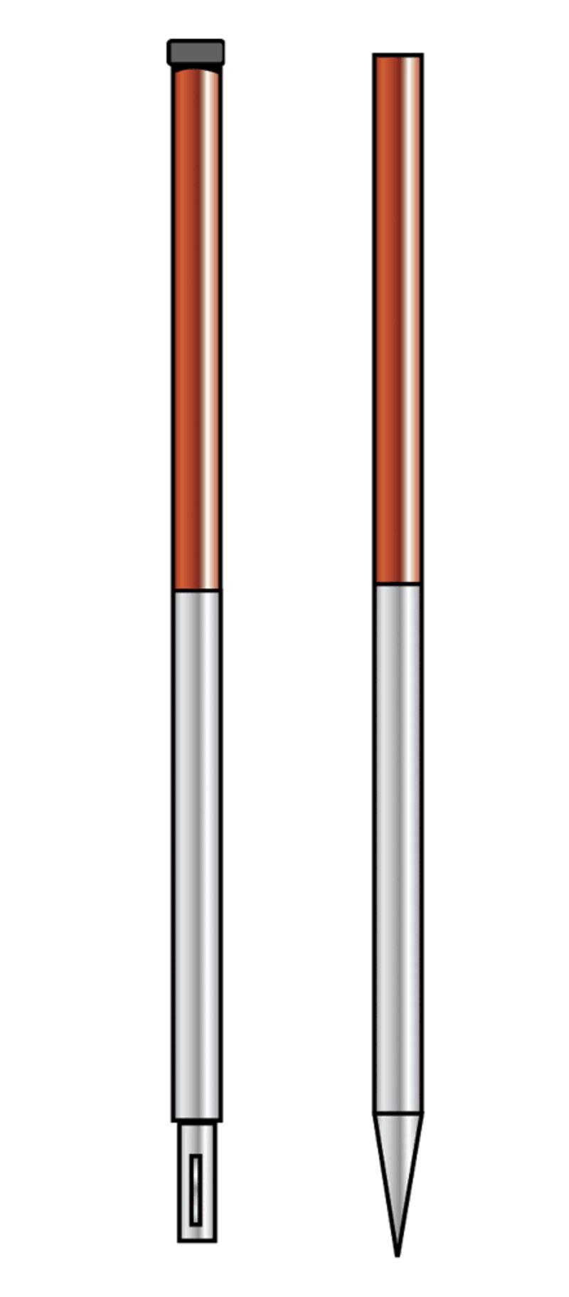 Fluchtstab zusammensteckbar, Stahl, Rohrsp.D 2,16m-St.ummant.-LF- steckbar-Teil.50cm