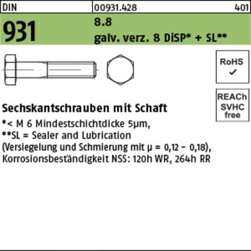 Sechskantschrauben mit Schaft (100 St.)