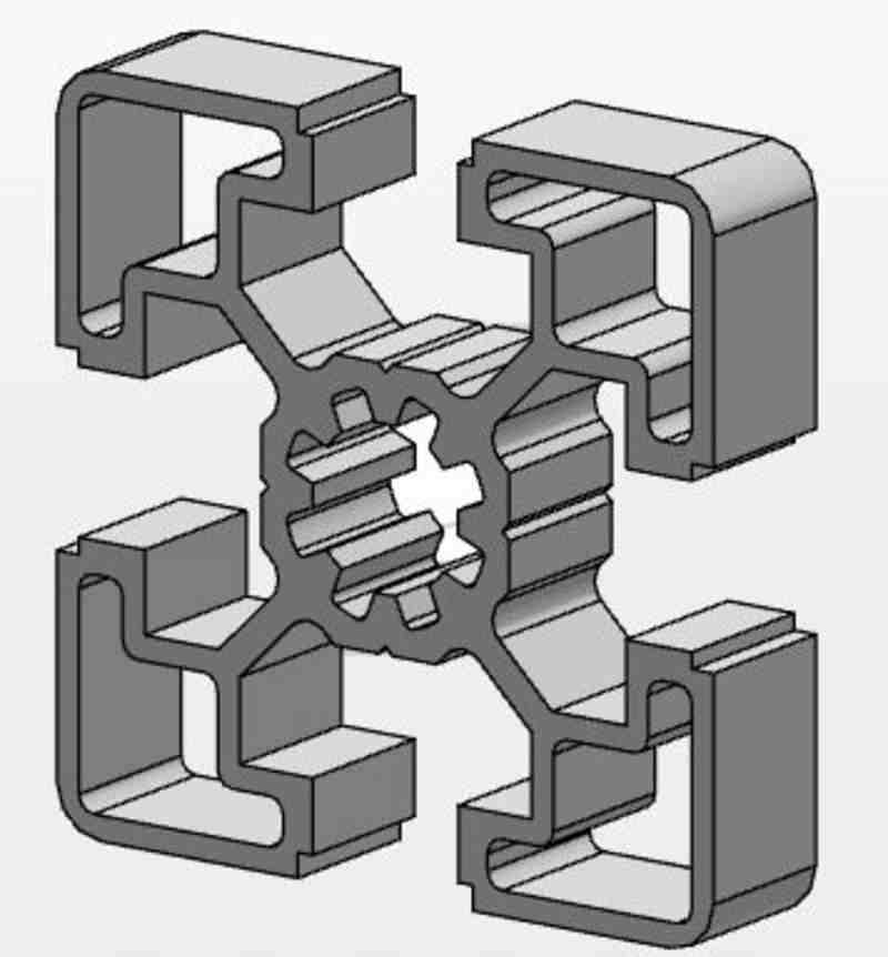 MCS-Aluminiumprofil 45x45L, Länge 1000mm