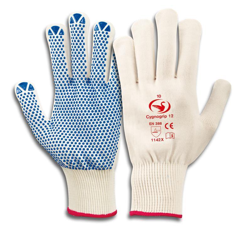Feinstrick-Handschuhe mit PVC Noppen Cygnogrip 12