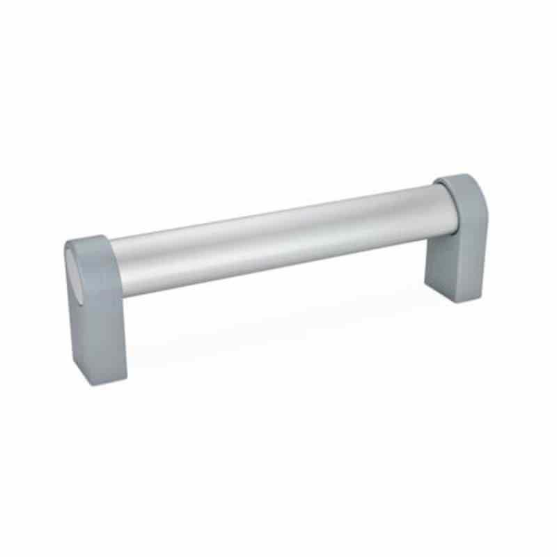 Ovalrohrgriffe, mit geneigtem Griffprofil, Montage von der Rückseite, Aluminium, Zink-Druckguss