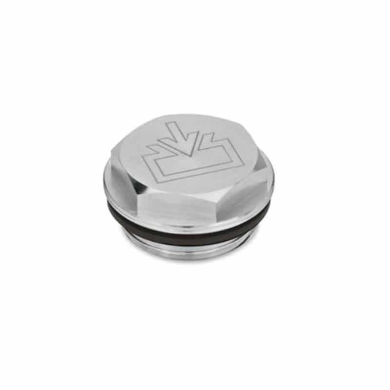 Verschlussschrauben mit und ohne Symbol, Viton-Dichtung, Aluminium, beständig bis 180 °C, blank