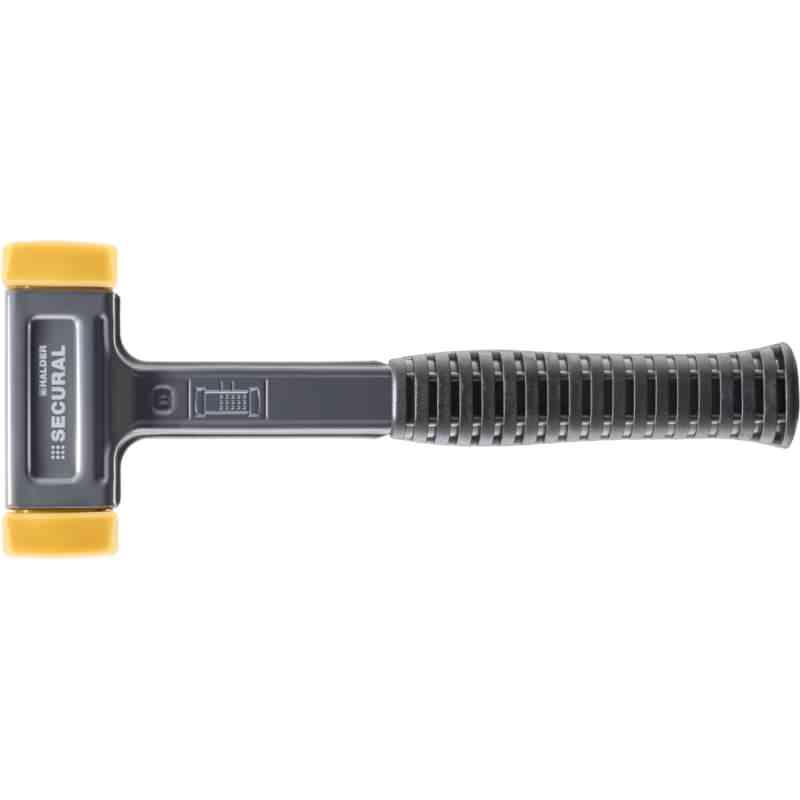 SECURAL-Schonhammer, Kopf und Stiel bruchsicher aus einem Stück Stahl, Schlageinsätze rechteckig, Polyurethan