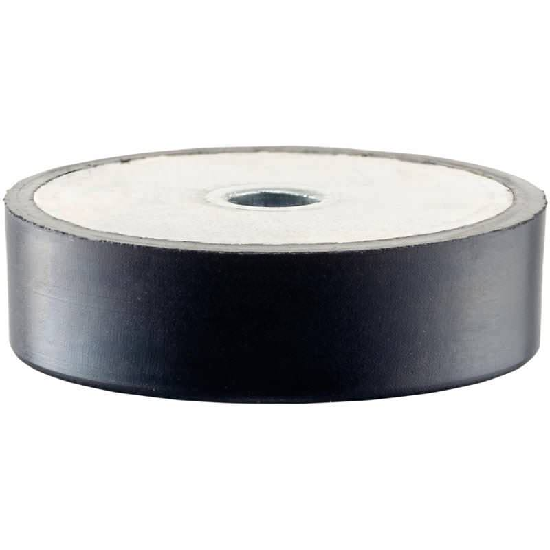 Gummi-Anschlagpuffer, niedrige Ausführung, mit Durchgangsbohrung