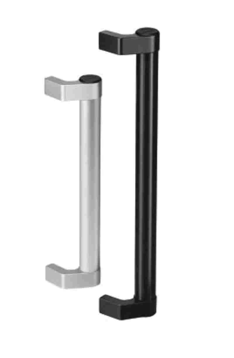 Griff aus Einzelelementen aus Aluminium Schenkel schwarz und Rohr natur eloxiert Länge 400 mm