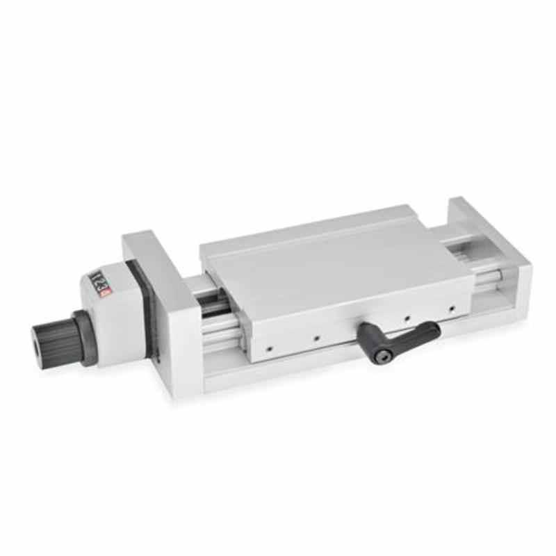Verstellschlitten mit Drehknopf und digitalem Stellungsanzeiger GN 954, Aluminium