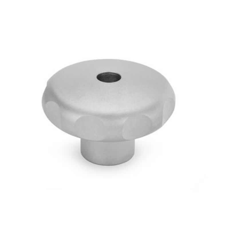 Edelstahl-Sterngriff mit Gewinde-Durchloch, Werkstoff 1.4305 (A1), matt gestrahlt