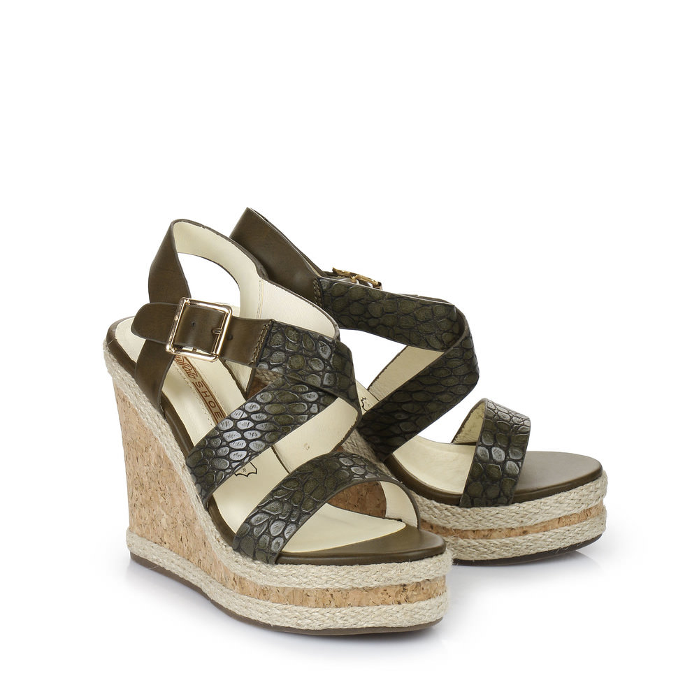 Buffalo Keil-Sandalette in khaki