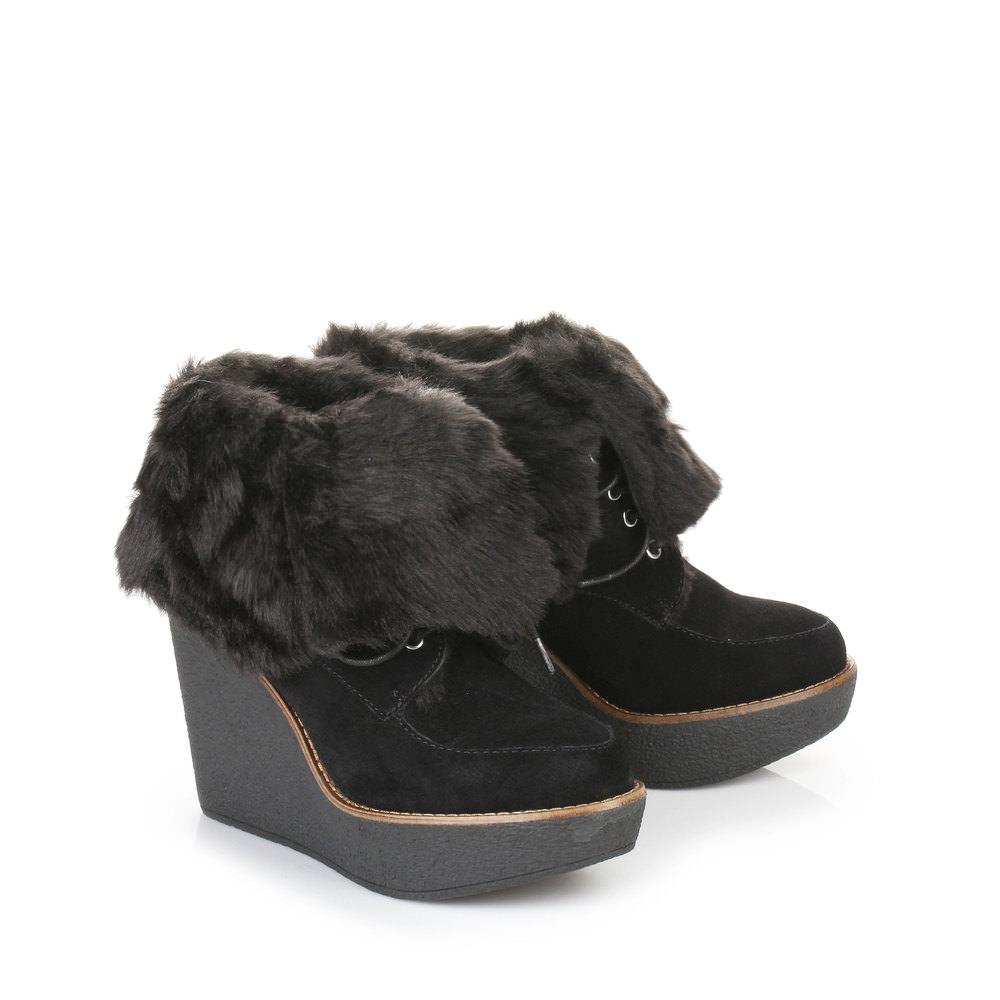 Gefütterte Buffalo Keil Stiefelette in schwarz