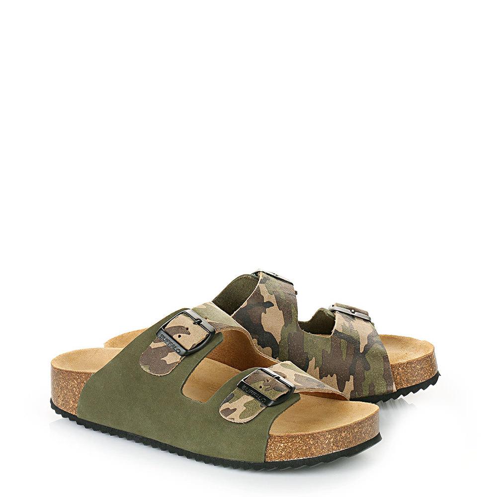 Buffalo Komfort-Pantolette mit ergonomischem Fußbett in camouflage Sale Angebote Hermsdorf