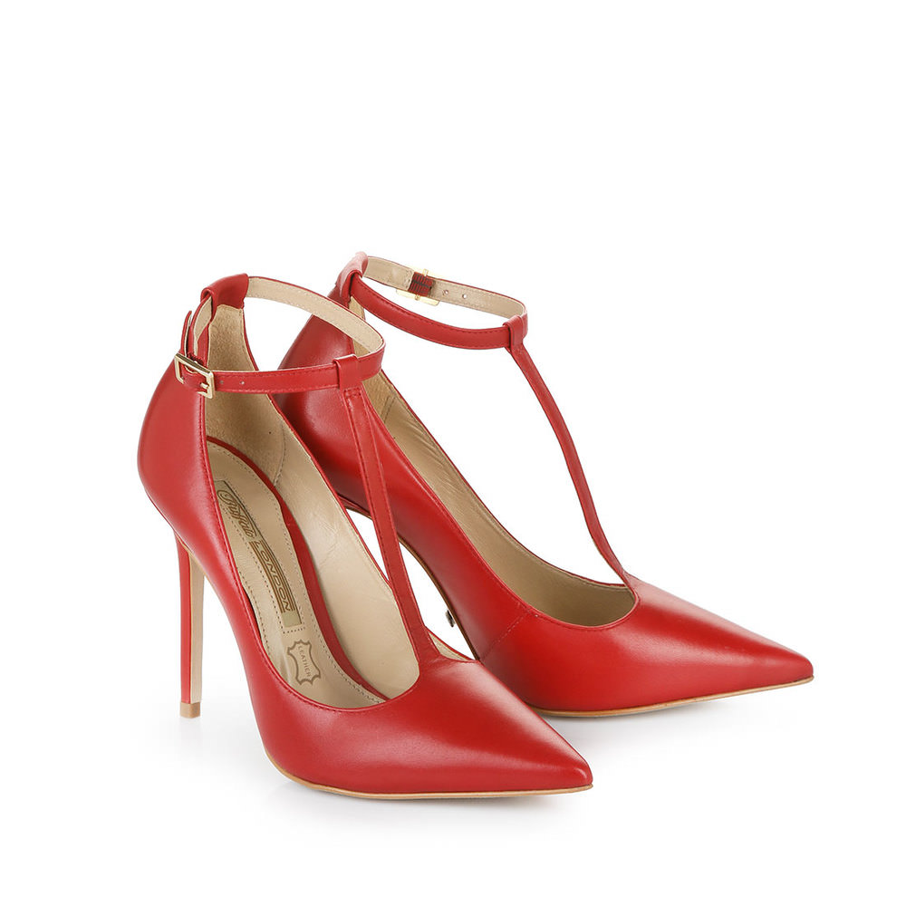 Buffalo Pumps in rot mit T-Strap - broschei