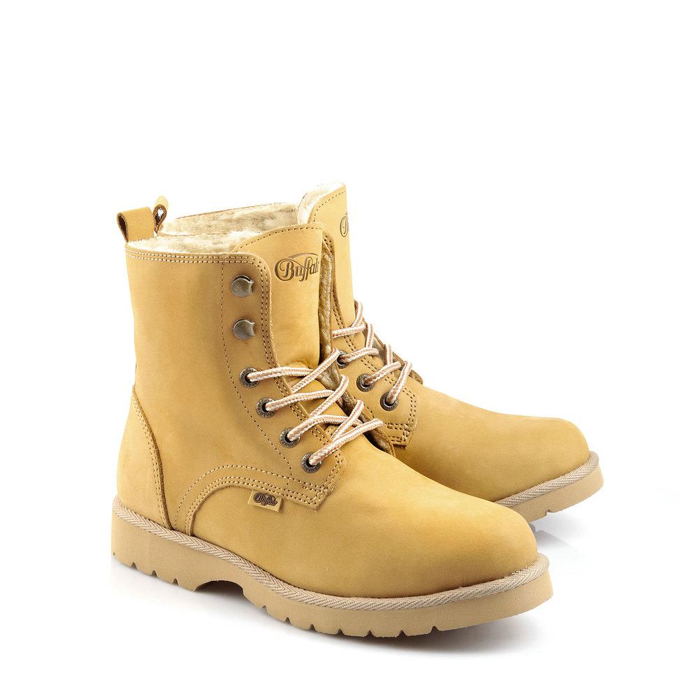 Gefütterte Buffalo Boots in gelb