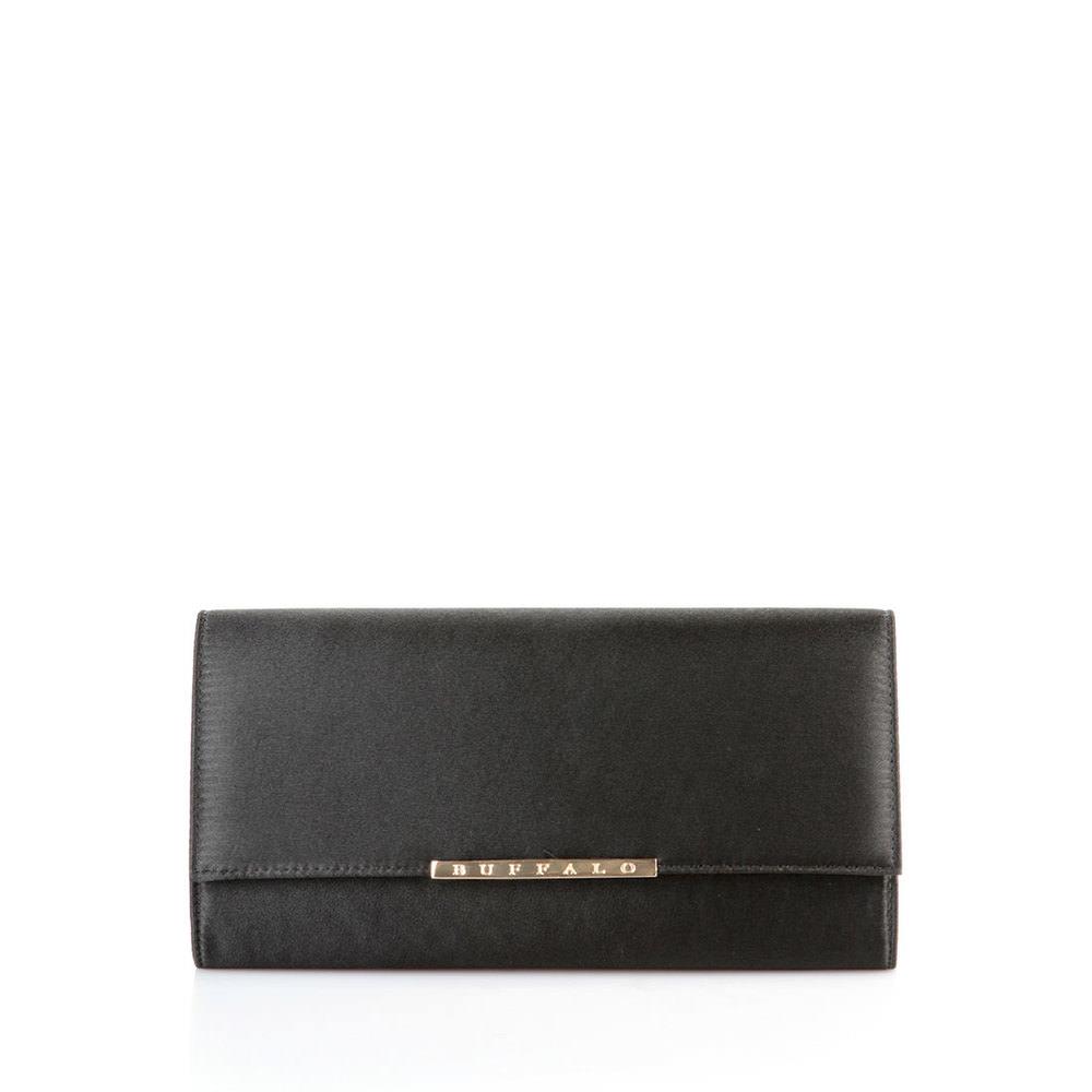 Buffalo Satin-Clutch in schwarz mit goldfarbenem Logo Sale Angebote Lieskau