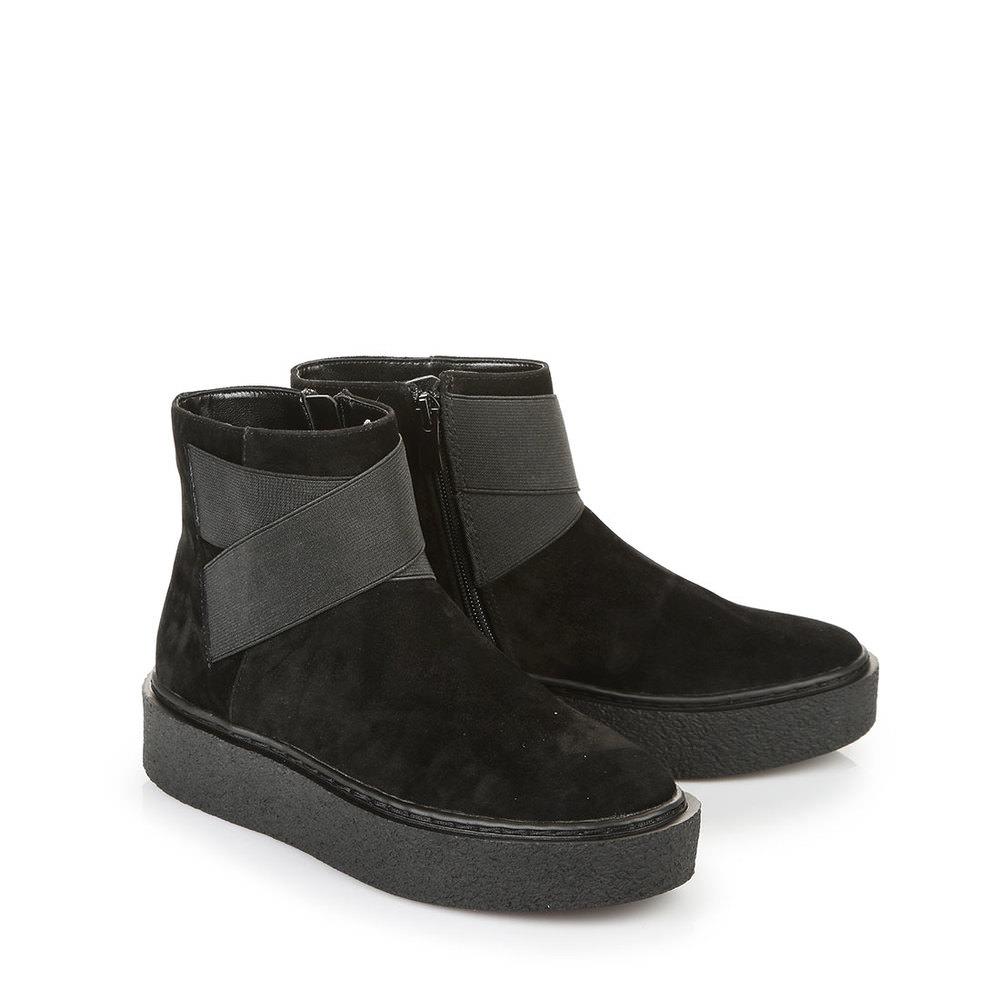Buffalo Fellbooties in schwarz mit Gummizugbändern Sale Angebote Lieskau