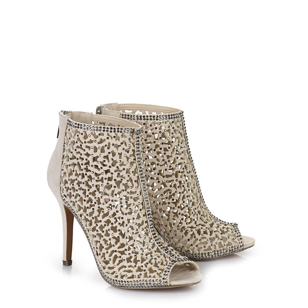 Buffalo Peep Toe Booties in beige