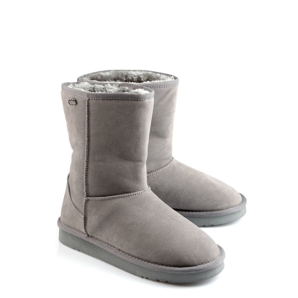 Gefütterte Buffalo Booties in grau