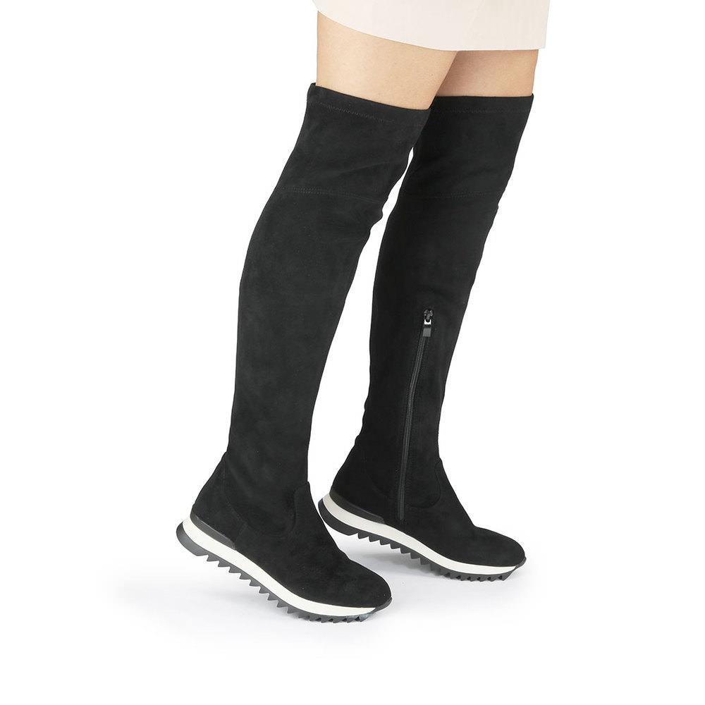 Buffalo Overknee-Sneaker in schwarz - Overknee-Sneaker in Veloursleder-Optik,Geriffelte Laufsohle,Halbhoher ReiÃ?verschluss an der Innenseite