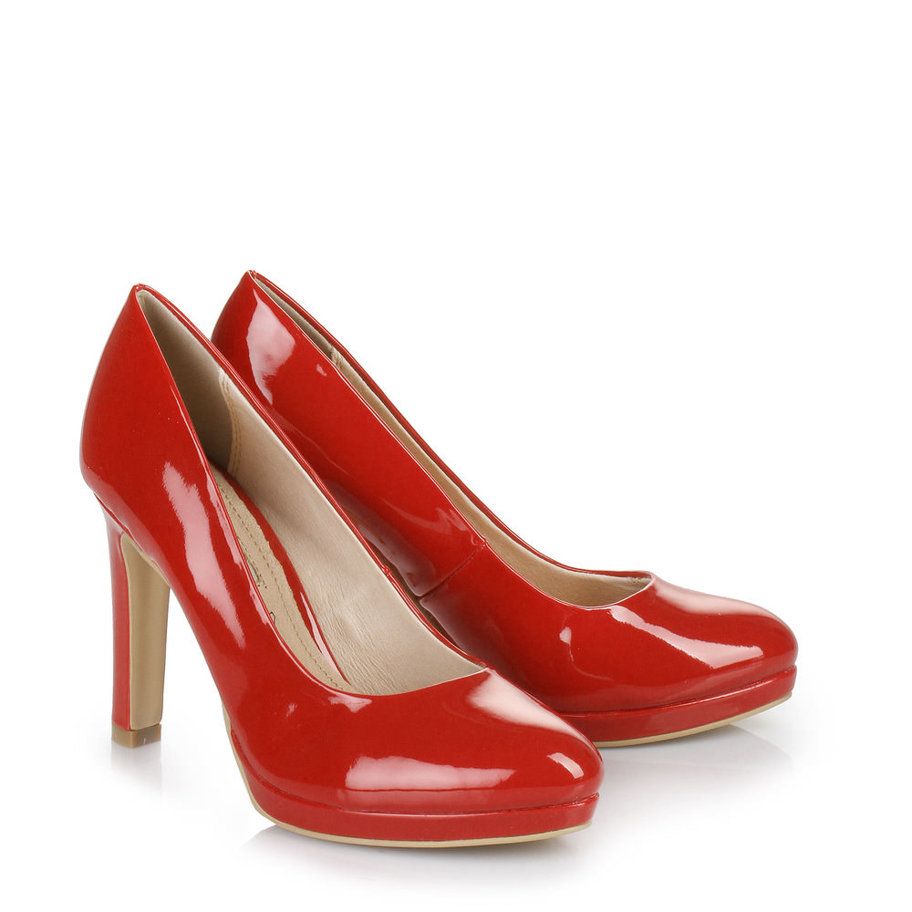 Plateau-Pumps in rot
